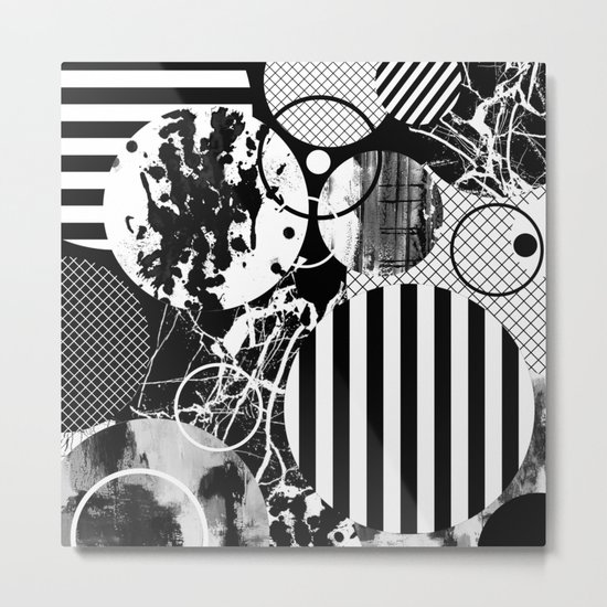 Black And White Choas - Mutli Patterned Multi Textured Abstract Metal Print