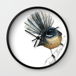 Mr Pīwakawaka, New Zealand native bird fantail Wall Clock