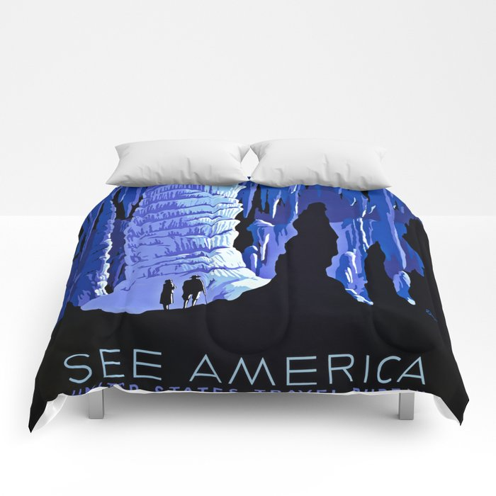 See America blue grotto vintage travel Comforters