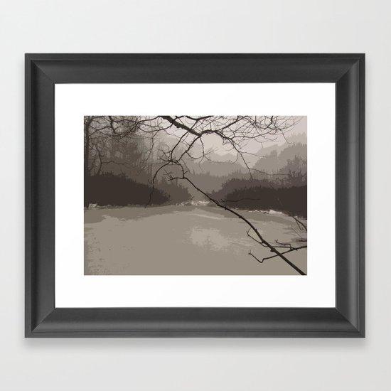 Fog over Swamp Framed Art Print