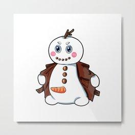 flashing snowman Flasher Present Winter Christmas Metal Print