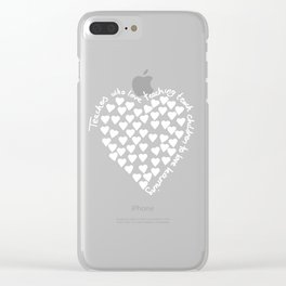 Hearts Heart Teacher White on Black Clear iPhone Case