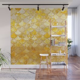 Sunny Gold Colorful Watercolor Trendy Glitter Mermaid Scales Wall Mural