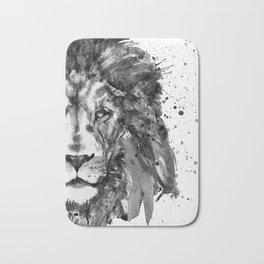 Black And White Half Faced Lion Bath Mat