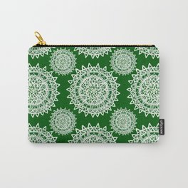 Emerald Green and Silver Patterned Mandalas Carry-All Pouch