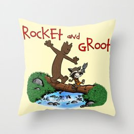 Rocket and Groot Throw Pillow