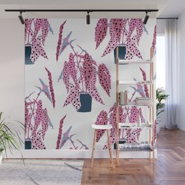 Simple Potted Polka Dot Begonia Plants in White + Rose Wall Mural