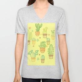 cheerful yellow cactus Unisex V-Neck