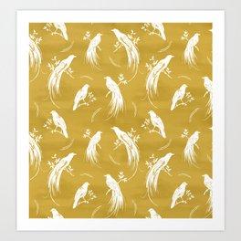 Birds of paradise mustard/white Art Print