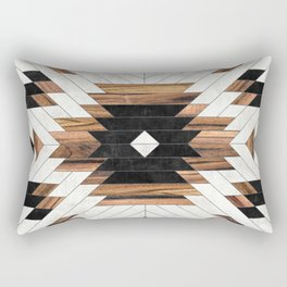 Urban Tribal Pattern No.5 - Aztec - Concrete and Wood Rectangular Pillow
