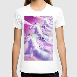 Space Pug On Flying Rainbow Unicorn With Laser Eyes T-shirt