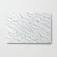 Marble Pattern - Swirly White and Blue Marble Metal Print