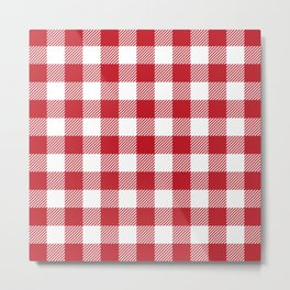 Buffalo Plaid - Red & White Metal Print