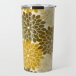 Golden Petals Pattern Travel Mug