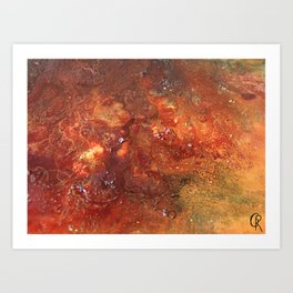 Mars mixed media on canvas, abstract artwork on canvas, close up photograph contemporary artist Art Print