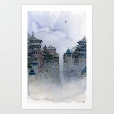 grey moon Art Print