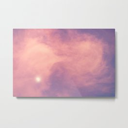 Purple Sky with Pink Clouds and Moon Metal Print