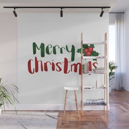 Merry Christmas | Red And Green Holly Wall Mural