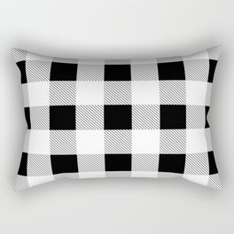 western country french farmhouse black and white plaid tartan gingham print Rectangular Pillow