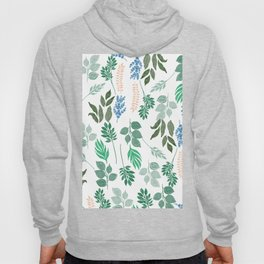 Hand painted watercolor forest green pink blue foliage Hoody