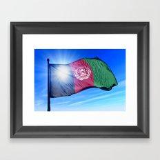 Afghanistan flag waving on the wind Framed Art Print
