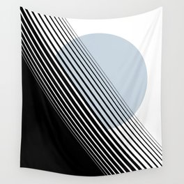 Rising Sun Minimal Japanese Abstract White Black Blue Wall Tapestry