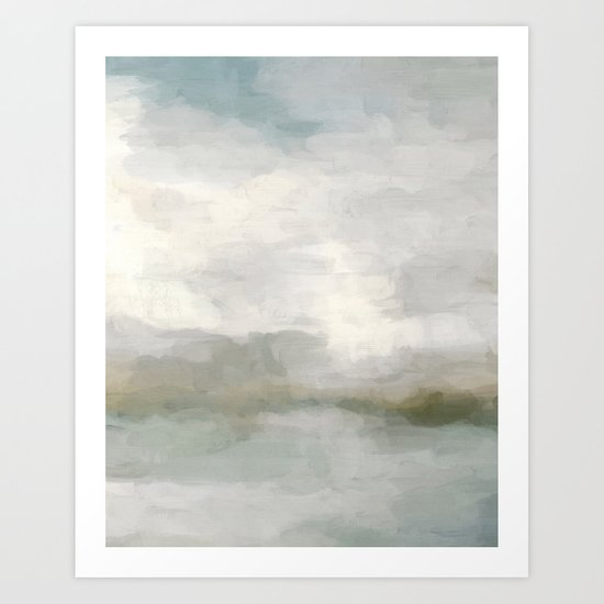 Modern Abstract Painting, Light Teal, Sage Green, Gray Cloudy Weather Digital Prints Wall Art, Ocean by rachelelise