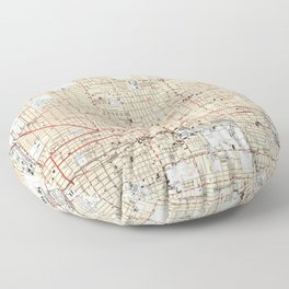 Vintage Map of Phoenix Arizona (1952) Floor Pillow