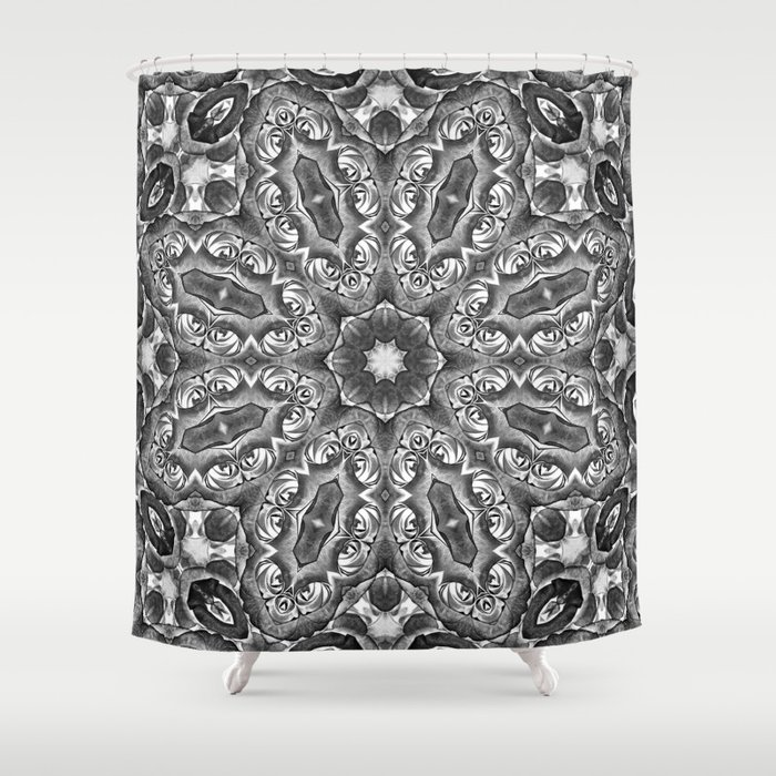 Black And White Floral Kaleidoscope Shower Curtain By Hereswendy Society6
