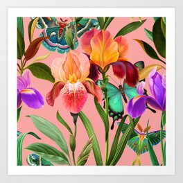 Irises and butterflies. Summer, tropical plants and moths Art Print