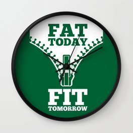 Lab No. 4 - Fat Today Fit Tomorrow Gym Motivational Quote Poster Wall Clock