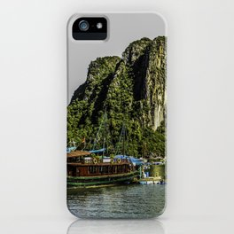 Beautiful Black and Red House Boat Parked in One of the Floating Villages beneath the Limestone Mountains in Halong Bay, Vietnam iPhone Case