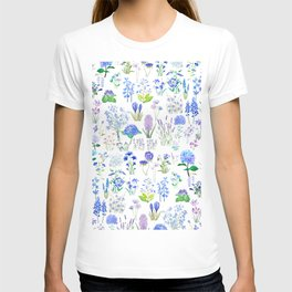 blue and purple flower collection 2020 watercolor  T-shirt