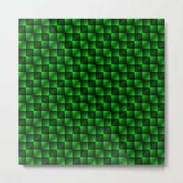 Fashionable large lozenges from small green intersecting squares in gradient dark cage. Metal Print