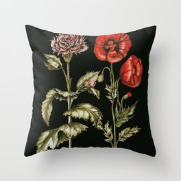Carnation & Poppy on Charcoal Throw Pillow