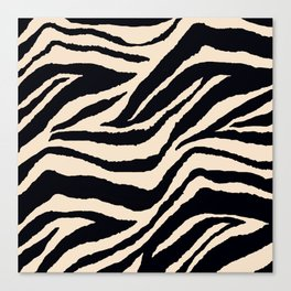 Zebra Animal Print Black and off White Pattern Canvas Print