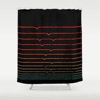 fibonacci Shower Curtains featuring Seagull Sunset by Robert Farkas