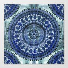 Vintage Blue Wash Mandala Canvas Print