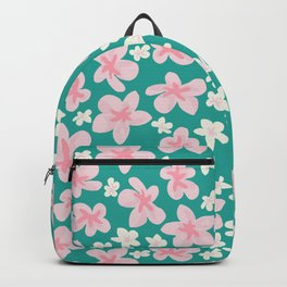 Apple Blossoms Hawaiian Green and Pink Backpack