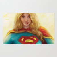 supergirl Area & Throw Rugs featuring Supergirl by SachsIllustration