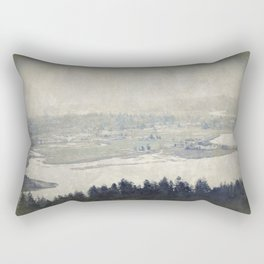 antiqued view from the Astoria Column Youngs Bay Rectangular Pillow