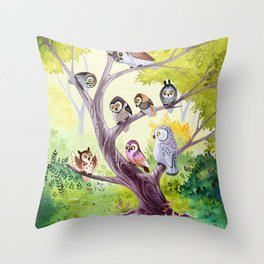 The Owl Story Throw Pillow