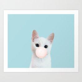 Bubble gum cat in blue Art Print