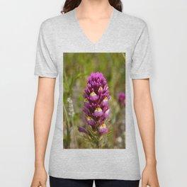 Purple Owl's Clover Unisex V-Neck