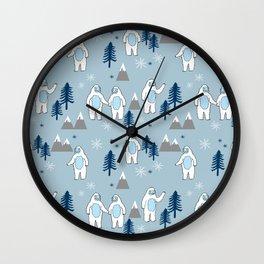 Yeti winter christmas cute forest pattern kids nursery holiday gifts Wall Clock