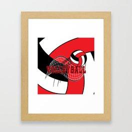 Volleyball Sport Game - Net - Red Framed Art Print