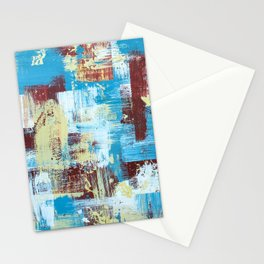 Farmhouse Abstract Art, Blue Red Beige Abstract Art, Abstract Design Stationery Cards