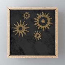 Gold Flower Mandalas over Black Marble Framed Mini Art Print