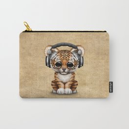Cute Tiger Cub Dj Wearing Headphones Carry-All Pouch