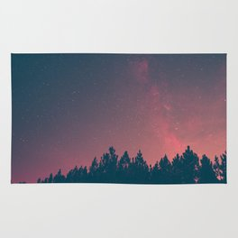 Pink And Black Milky Way Galaxy Forest Rug